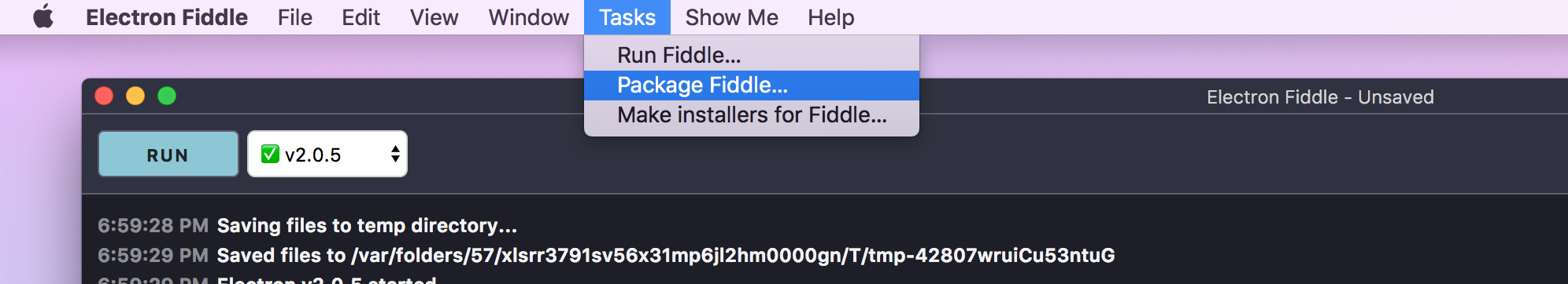 Screenshot of Electron Fiddle Compile And Package Menu