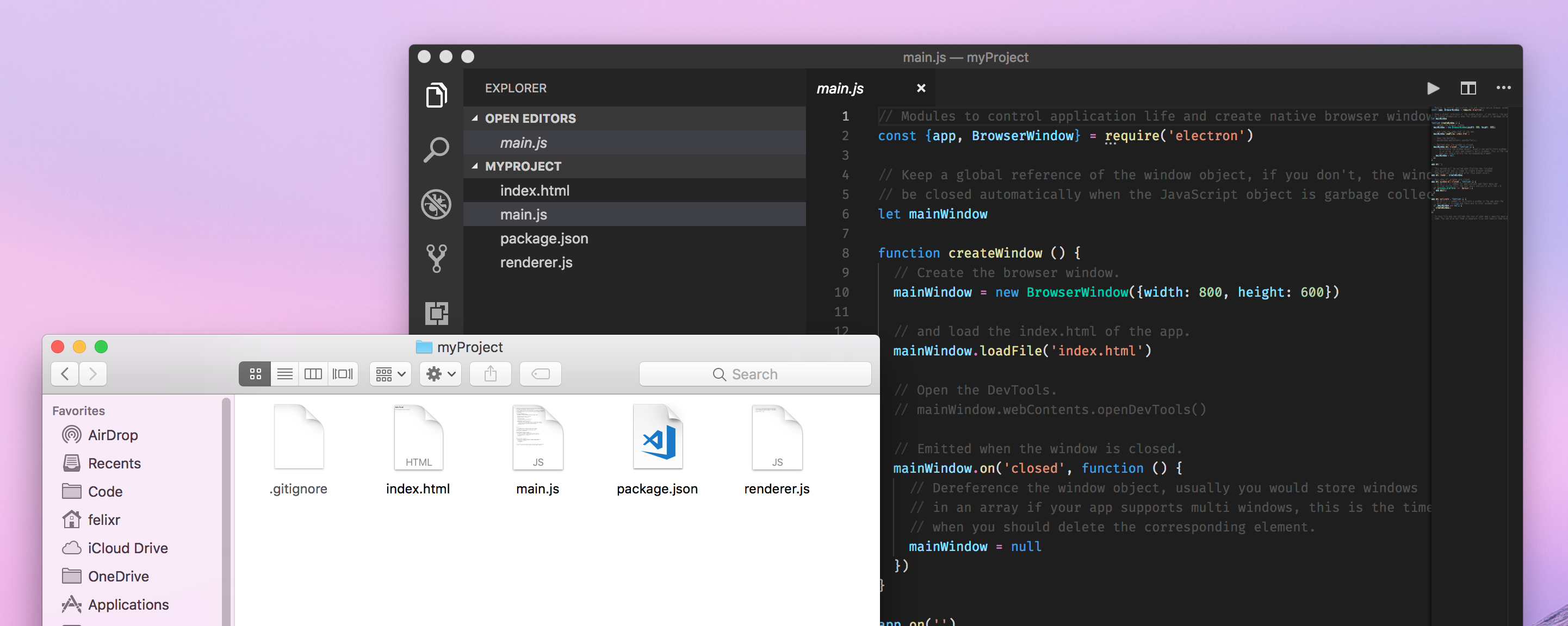 Screenshot of Electron Fiddle Starting Point